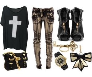 black, gold, and clothes image