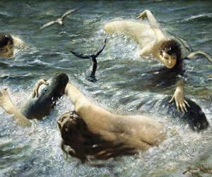 mermaids, painting, and sea image