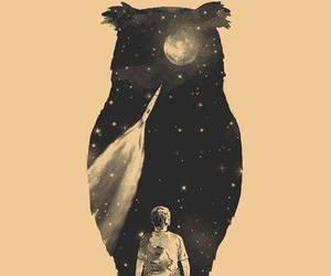 owl, boy, and moon image