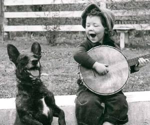 dog, child, and music image