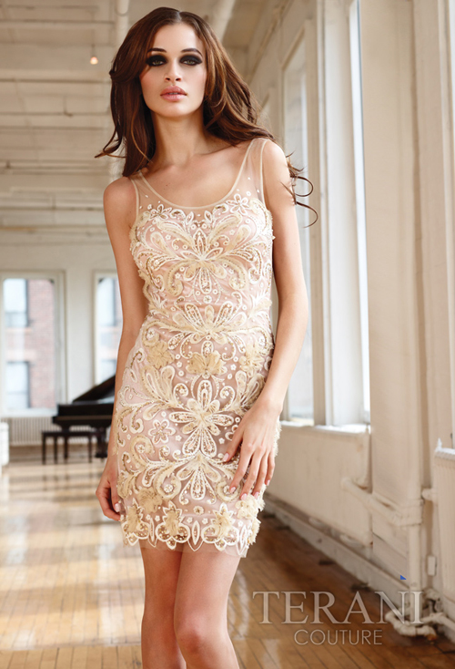 Dresses by Terani -Beige Floral Embroidered Overlay Tank Cocktail ...
