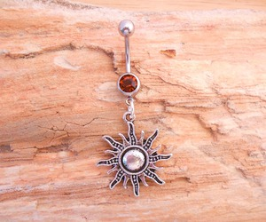 belly button, sun, and belly ring image