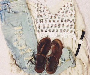 jeans, look, and sandals image