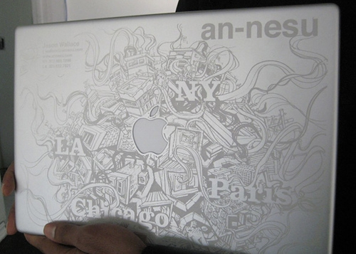 apple, graffiti, and laptop image