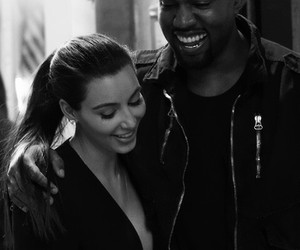 kim kardashian, kanye west, and couple image