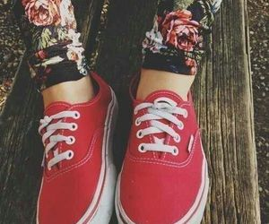 flowers, keds, and red image