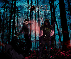 once upon a time, robin hood, and evil queen image