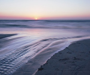 beach, sunset, and waves image