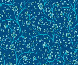 blue, flowers, and pattern image