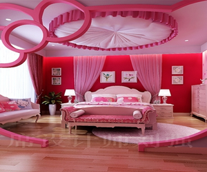 bedroom, pink, and beautiful image