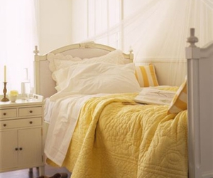 bed, yellow, and bedroom image