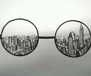 city, glasses, and drawing image