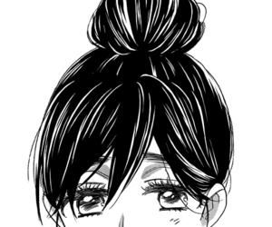 manga, girl, and black and white image