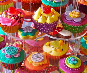 color, cupcakes, and girly image