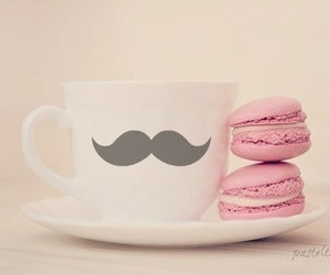pink, mustache, and macaroons image