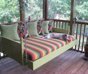 outdoor beds, outdoor porch bed, and outdoor swing with canopy image