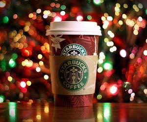 christmas, christmas lights, and starbucks image