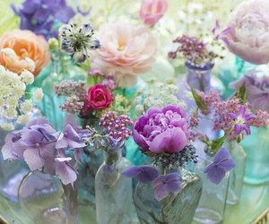 bottles, bouquet, and flowers image