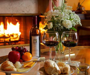 wine, food, and fire image