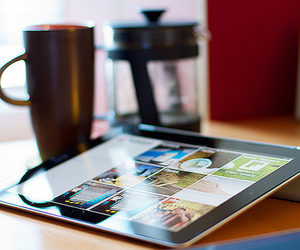 ipad, apple, and coffee image