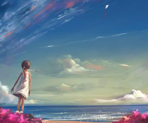 child, girl, and sky image