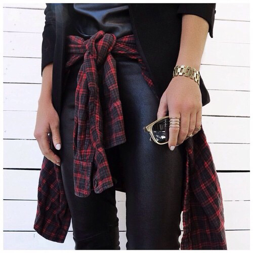 checked, jacket, and jewelry image