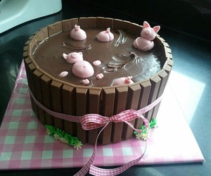 cake, chocolate, and pig image