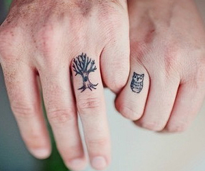 tattoo, owl, and tree image