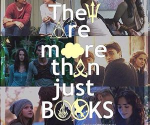 harry potter, books, and the hunger games image