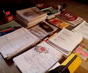 books, work hard, and exam image