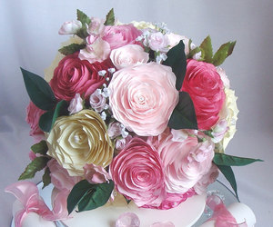 wedding bouquet, pink bouquet, and peony bouquet image