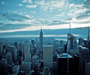 city, blue, and new york image