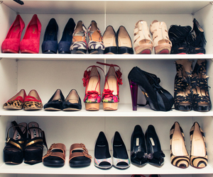 closet, high heels, and shoes image
