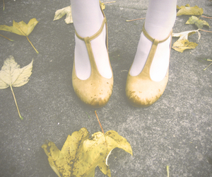 autumn, heels, and leaves image