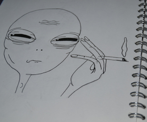 alien, drawing, and grunge image