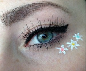 flowers, eyes, and eye image