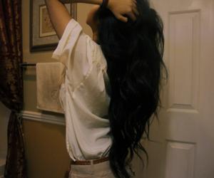 hair, girl, and black hair image