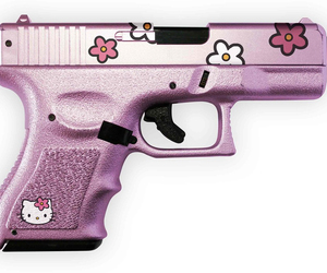 hello kitty, gun, and pink image