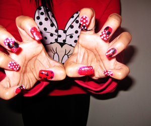 nails, minnie mouse, and red image