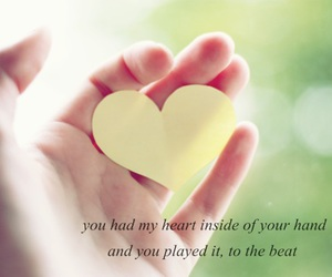 hand, heart, and quote image
