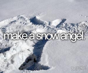 snow, angel, and bucket list image