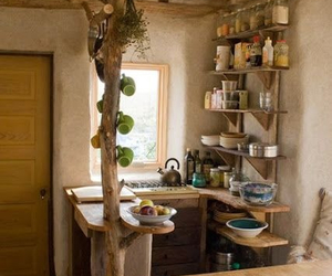 dishes, interior design, and wooden kitchen image