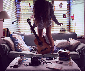 fashion, girl, and guitar image
