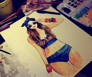 drawing, beautiful, and bikini image