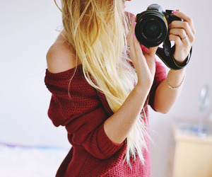 girl, camera, and girly image