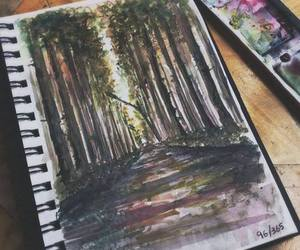 art, forest, and drawing image