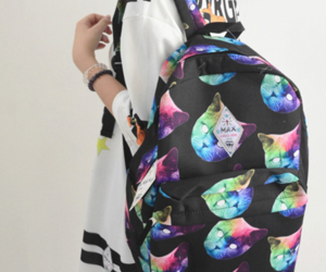cat, fashion, and backpack image