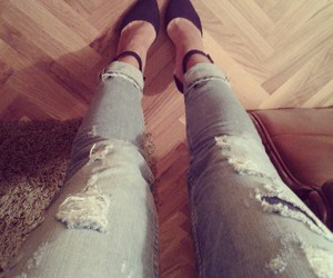highheels, jeans, and ripped image