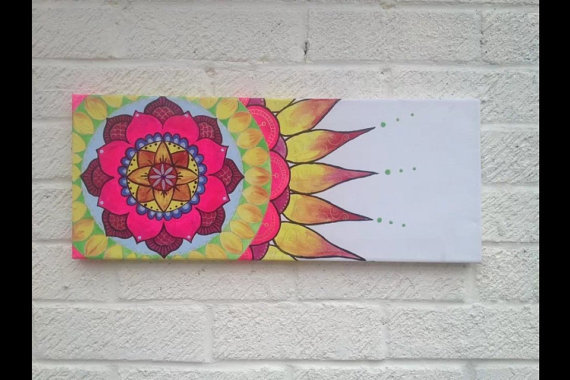 Mandala Flower Painting On Canvas Original Art By Afairydoor