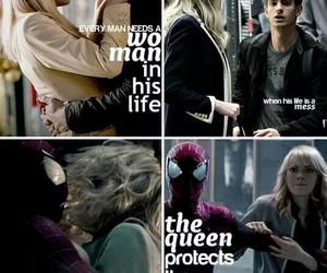 emma stone, andrew garfield, and spiderman image
